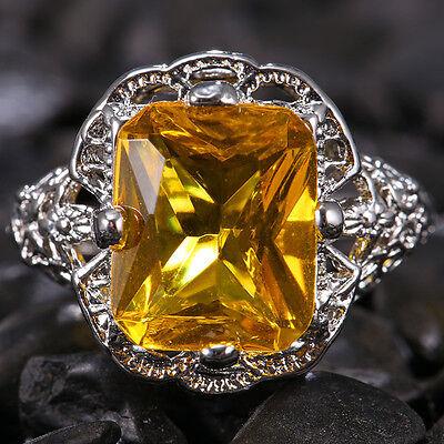Women Men Amber Yellow Topaz 4.19ct 925 Silver Wedding Vintage Ring Size 6-10