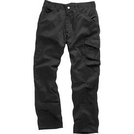 Scruffs Black Worker Trousers new rrp£20 size 34R ,36L,