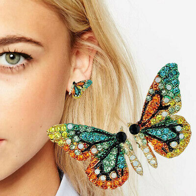 Rhinestone Butterfly Wing Earrings Dangle Drop Insect Jewelry For Women Gifts