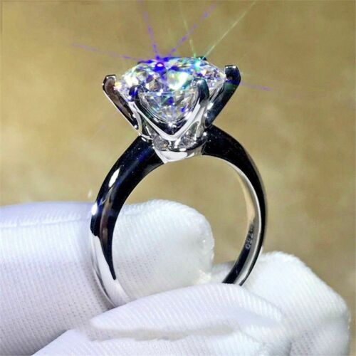 3.00Ct Brilliant Cut Moissanite Solitaire Engagement Ring 14k white gold finish