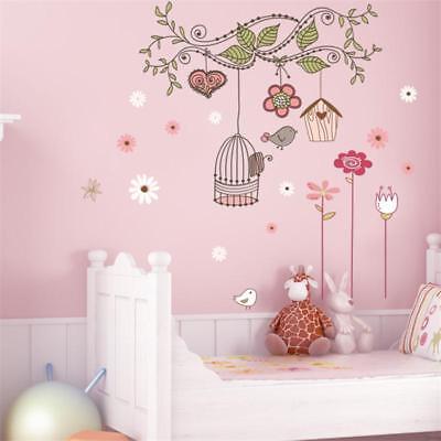 Flower Bird Wall Stickers Decals Wallpaper Mural Art Poster Decor Baby Room