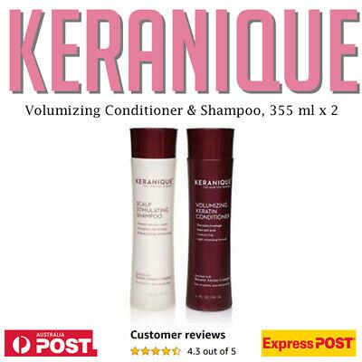 KERANIQUE Volumizing Keratin Conditioner + Shampoo 355 ml 12 oz Thinning Hair AU