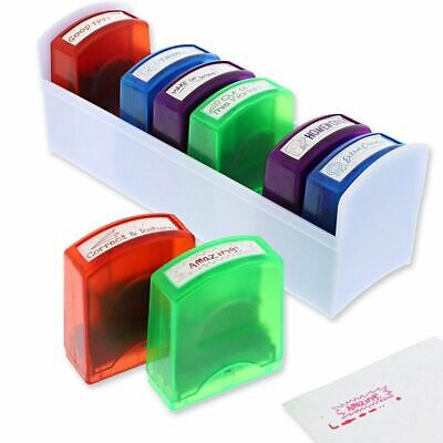 8 Self Inking Non-Toxic Teacher Grading Stamps 4 Color 2L x 0.7W x 2.25H inch