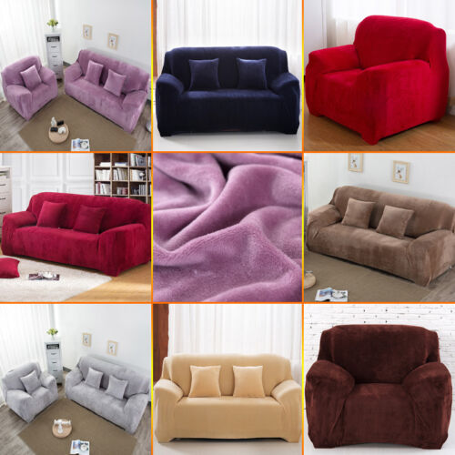 Thick Plush Velvet Couch Cover Stretch
