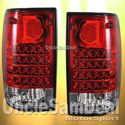 FOR TOYOTA PICKUP TRUCK EURO RED CLEAR LENS LED TAIL LIGHTS PAIR DIRECT FIT