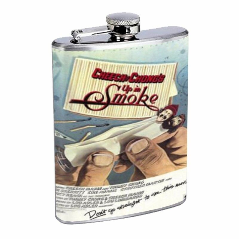 Cheech & Cong Up In Smoke Flask D64 8oz Stainless Steel Paper Rolling