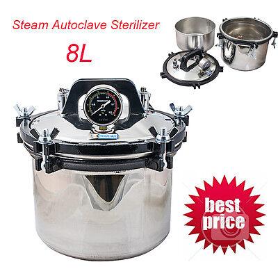 Dental Steam Autoclave Sterilizer 8l Stainless Steel Portable 8kg