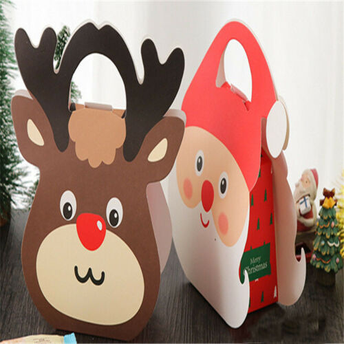 Cartoon Christmas Santa Elk Paper Candy Gift Wrap Boxes Bag