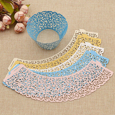 50 Pcs Hollow Out Lace Cupcake Holder Wraps Liners Wedding Decor Baking - Decorative Cupcake Holders