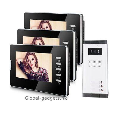 "Apartment 3 Units Wired 7"" Video Door Phone Door Intercom System +3 HD Monitors"