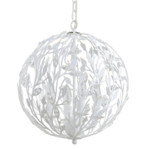 Brand New White Chandelier with Crystals, 4 Lights