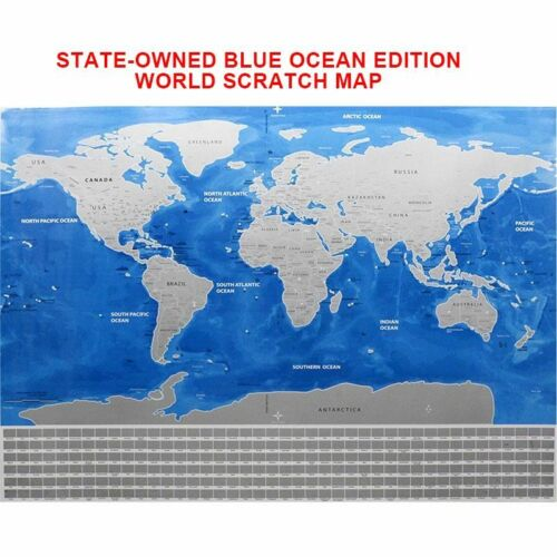 Ocean Scratching World Map Wall Stickers PVC Material Mark Traveling Place Roll
