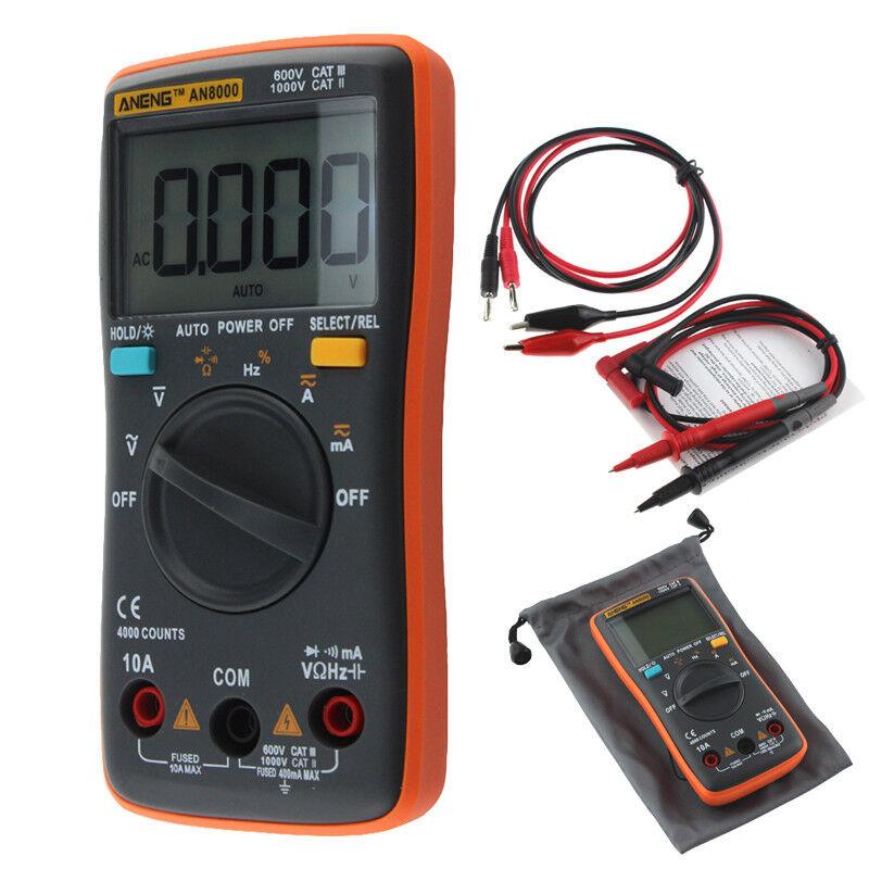 Rosso ANENG RMS LCD TESTER MULTIMETRO DIGITALE PROFESSIONALE CON CAVI MULTIMETER