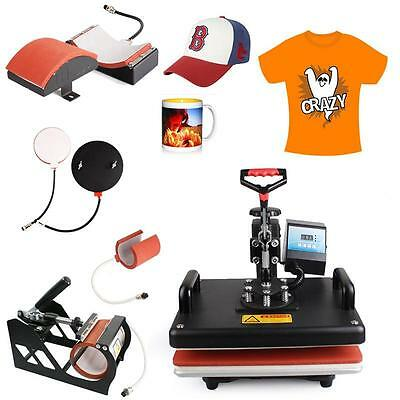5 In 1 Heat Press Machine Digital Transfer Sublimation For T-shirt Mug Hat Plate