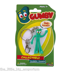 Gumby 3 inch Bendable Keychain Keyring - Brand New Licensed Product