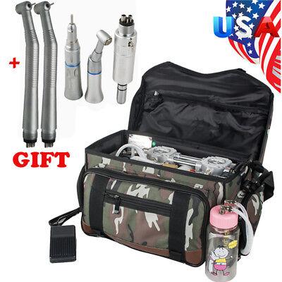 Portable Bag Dental Turbine Unit Air Compressor System Syringe Handpiece Kit