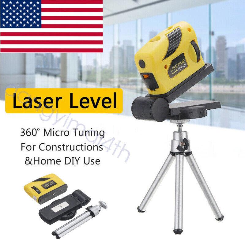 360° Laser Level Leveling 3D Point/Line/Cross Horizontal Vertical +Tripod