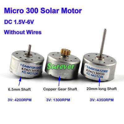 Dc 1.5v6v 3v 5v 4200rpm Mini 300 Solar Power Motor Long Shaft Copper Gear Diy
