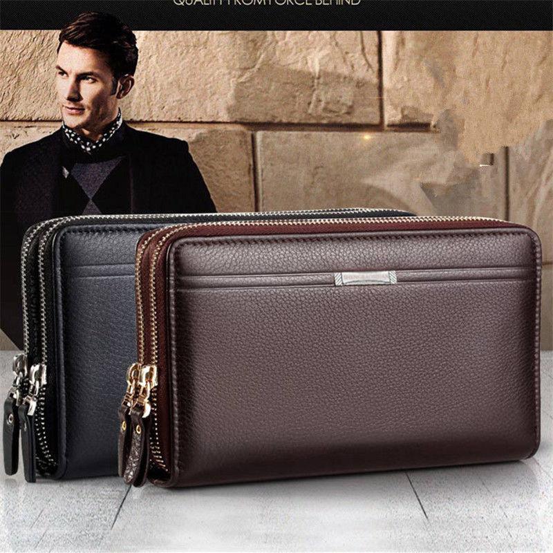 US Mens Genuine Leather Business Zip Big Wallet Clutch Purse