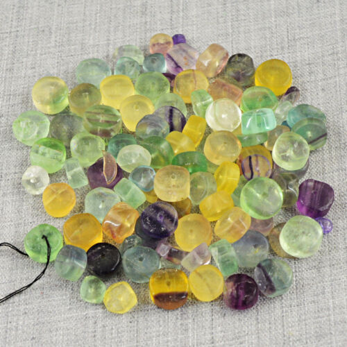 305.00 Carats Earth Mined Drilled Multicolor Fluorite Round Shape Beads Lot