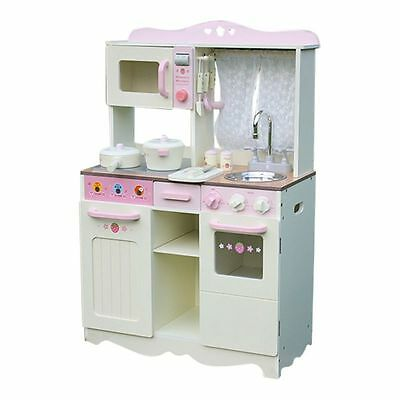 Wooden Toy Kitchen with accessories in Pink and Cream