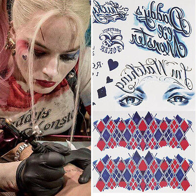 2Pcs Suicide Squad Harley Quinn Temporary Tattoos Full Body Waterproof Sticker - Harley Quinn Tattoo