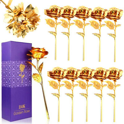 Lot10 24K Gold Plated Romantic Rose Carnation Flower Birthday Mother's Day Gift