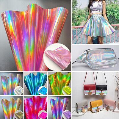 DIY Stoff Kunstleder Glitter Silber Regenbogen Farben Bunt Schimmernd Glitzer