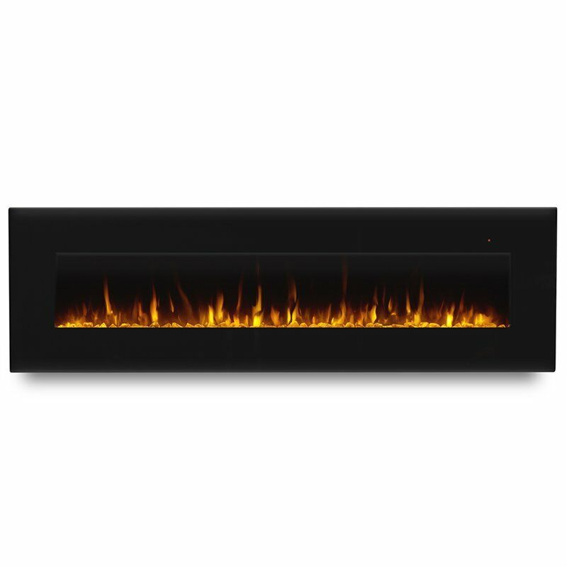 """Real Flame Corretto 72"""" Wall Mounted Electric Fireplace in Black"""