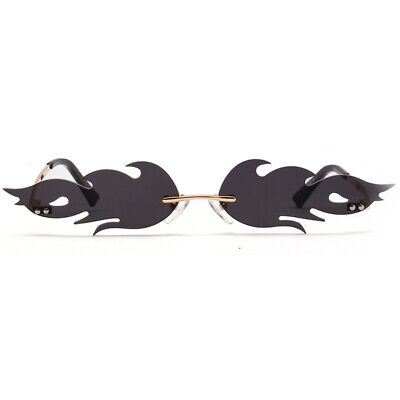 2019 Fire Flame sunglasses Women Fashion Rimless Wave Glasses Narrow Eyewear (Flare Eyewear)