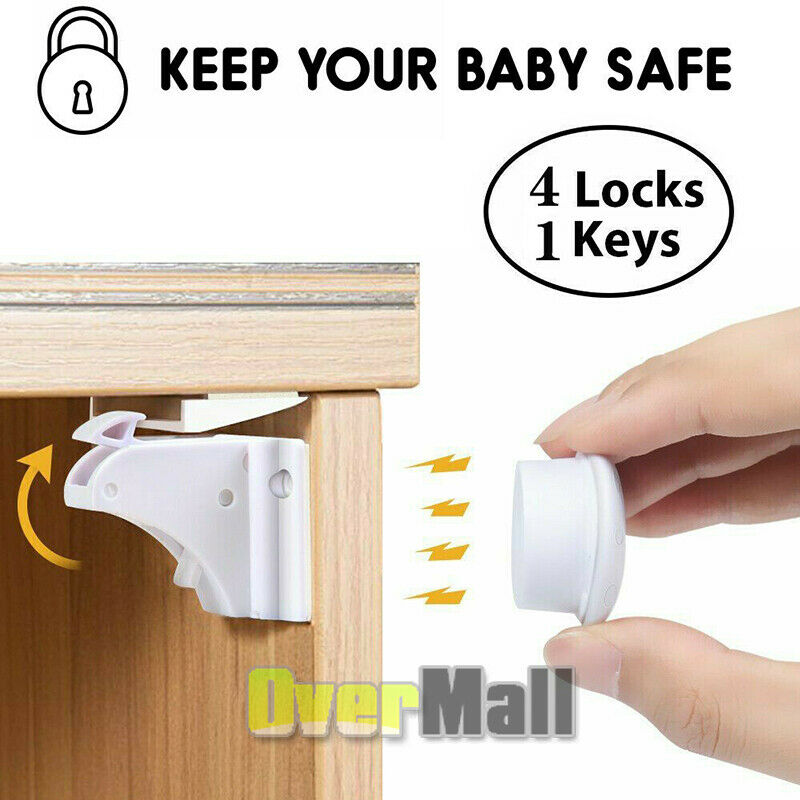 New Magnet Child Locks 4 Locks 1 Keys Cabinet Baby Safety Invisible Kids Proof