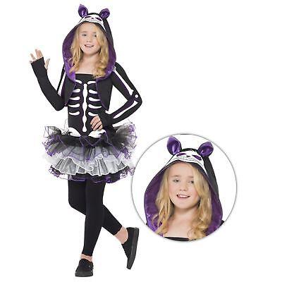 Mädchen Halloween Skelly Katzenkostüm mit Tutu Kapuze Kostüm Tiere Skelett