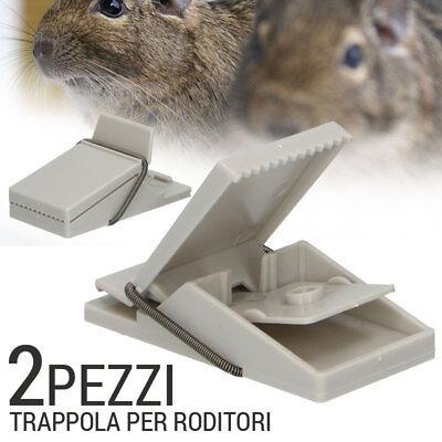 Trappola Per Topi Roditori a Scatto Molla 2 PEZZI In Plastica Cattura Ratti Topo