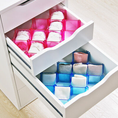 6PCS Underwear Tie Socks Organizer Case Desk Drawer Divider Plastic Storage Box