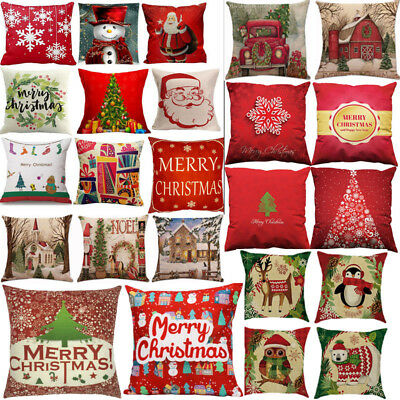 Merry Christmas Pillow Cases Cotton Linen Sofa Cushion Cover Home Decor Bless L ()