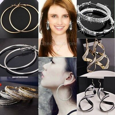 Round Loop Earrings - Round Big Large Hoop Huggie Loop Earrings for Women 2018