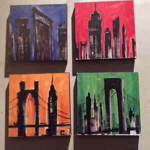 Set of 4 Modern City Scapes- 1/2 price!