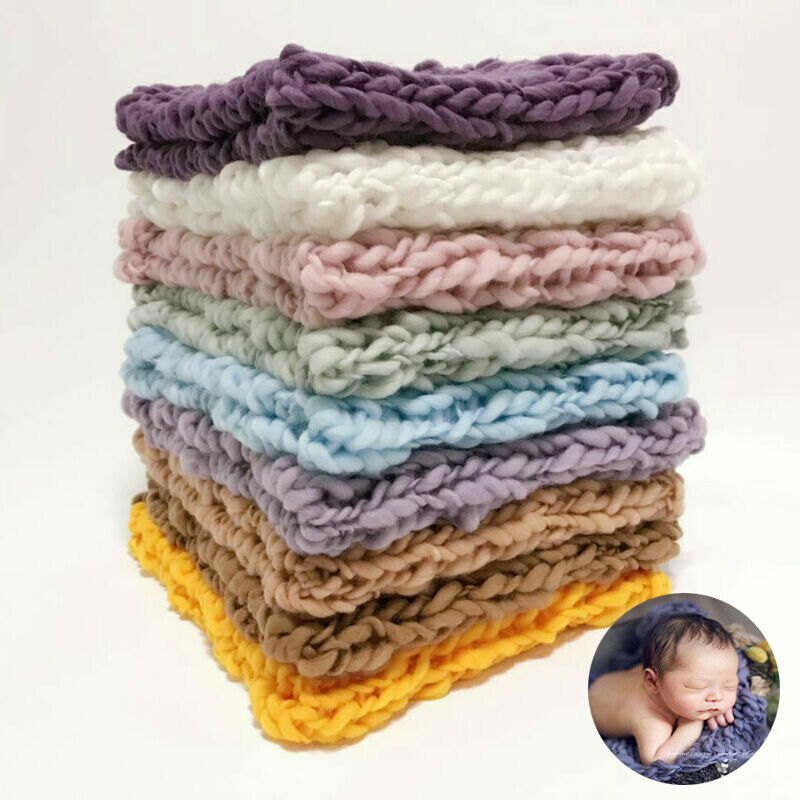 Baby Knit Photography Props Chunky Accessories Newborn Crochet Blanket Soft