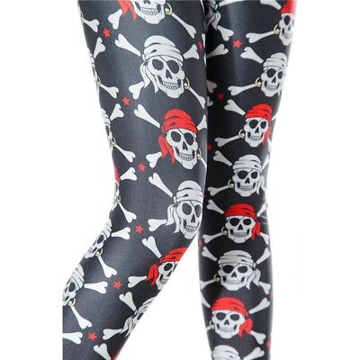 Piraten Leggings  XS S M 34 36 38 Skull Schädel Skelett Totenköpfe Kostüm Hose