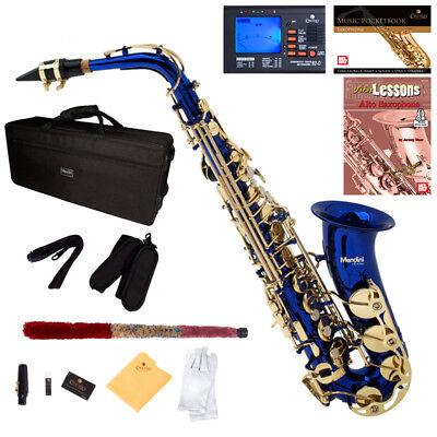 MENDINI BLUE LACQUER BRASS Eb ALTO SAXOPHONE SAX W/ TUNER,CASE,CAREKIT,11 REEDS