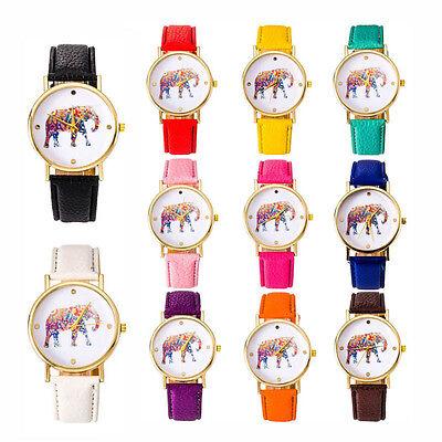 Unique Women National Wind Elephant Casual Leather Strap Quartz Wrist Watches