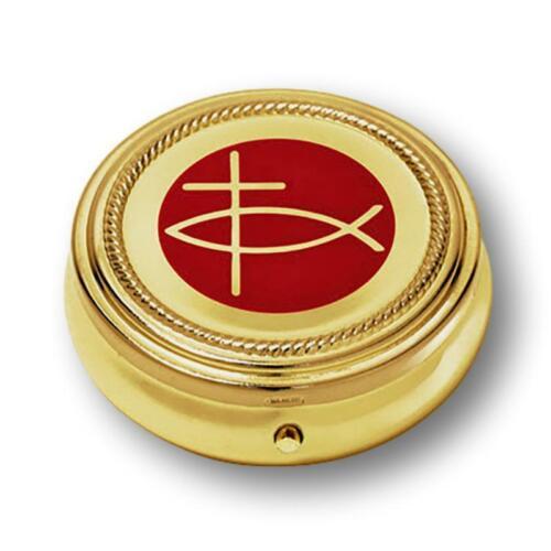 Ichthus Cross Gold Tone Pyx for Catholic Christian Communion Eucharist Hosts