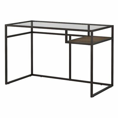 """Bush Anthropology 48"""" Glass Top Writing Desk in Rustic Brown"""