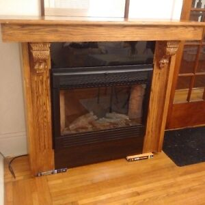 Electric Fireplace Solid Oak and black granite mantle Kingston Kingston Area image 2