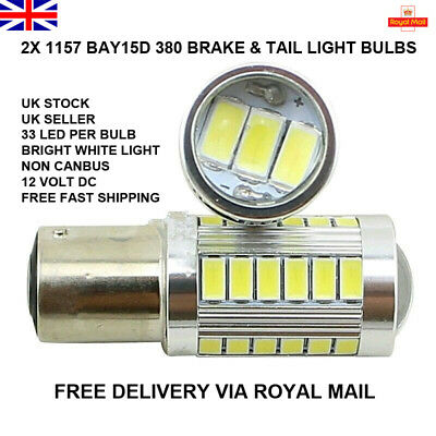 2 x WHITE 33 LED 1157 BAY15D 380 P21/5W CAR STOP BRAKE TAIL LIGHT BULBS LAMP 12V