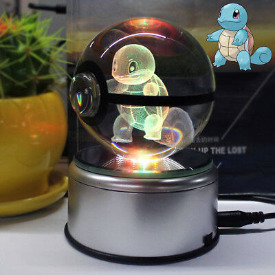 3D Pokemon GO Squirtle Crystal Ball LED Night Light Table Desk Lamp Best