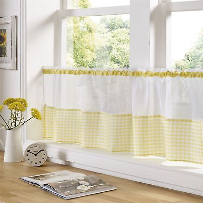 """YELLOW AND WHITE GINGHAM 59"""" X 18"""" – 150CM X 45CM KITCHEN CAFE CURTAIN PANEL"""
