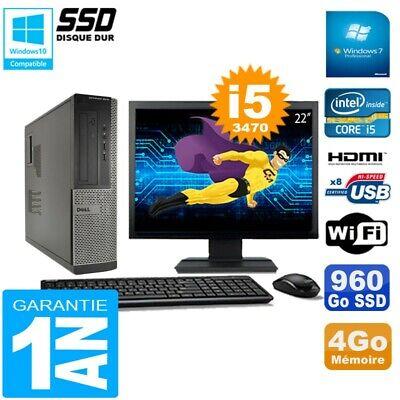 PC DELL 3010 DT Core I5-3470 Ram 4Go Disque 960Go SSD Graveur Wifi W7 Ecran 22