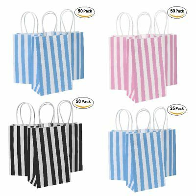 Paper Bag Party Bags (25/50PCS Party Bags Kraft Paper Gift Bag Shop Handles Xmas Wedding)