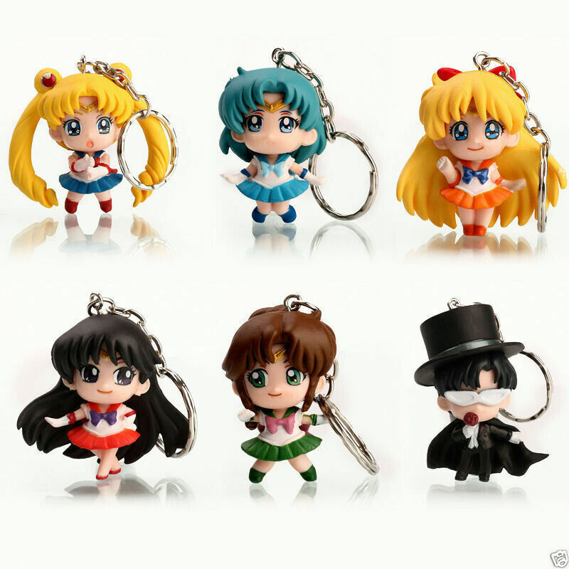 Sailor Moon Anime 6pcs/set Keychain Keyring Action Figures Toy Gift Collectible